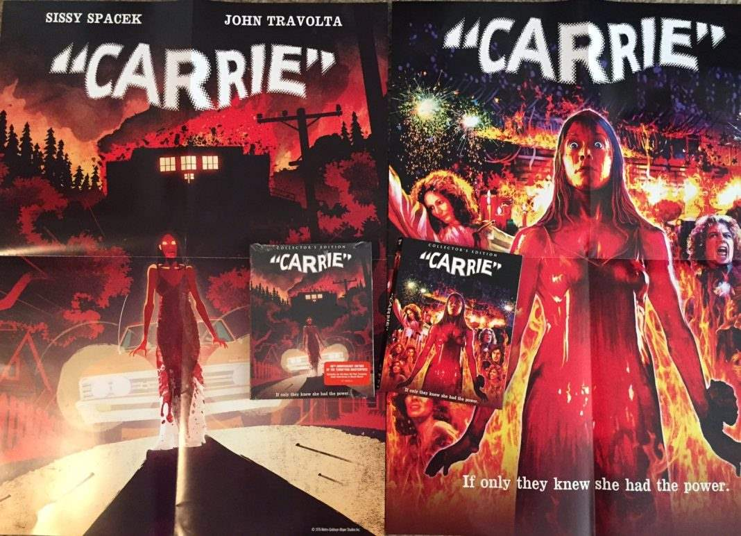The deluxe edition of Carrie from Scream Factory, with posters and slipcovers