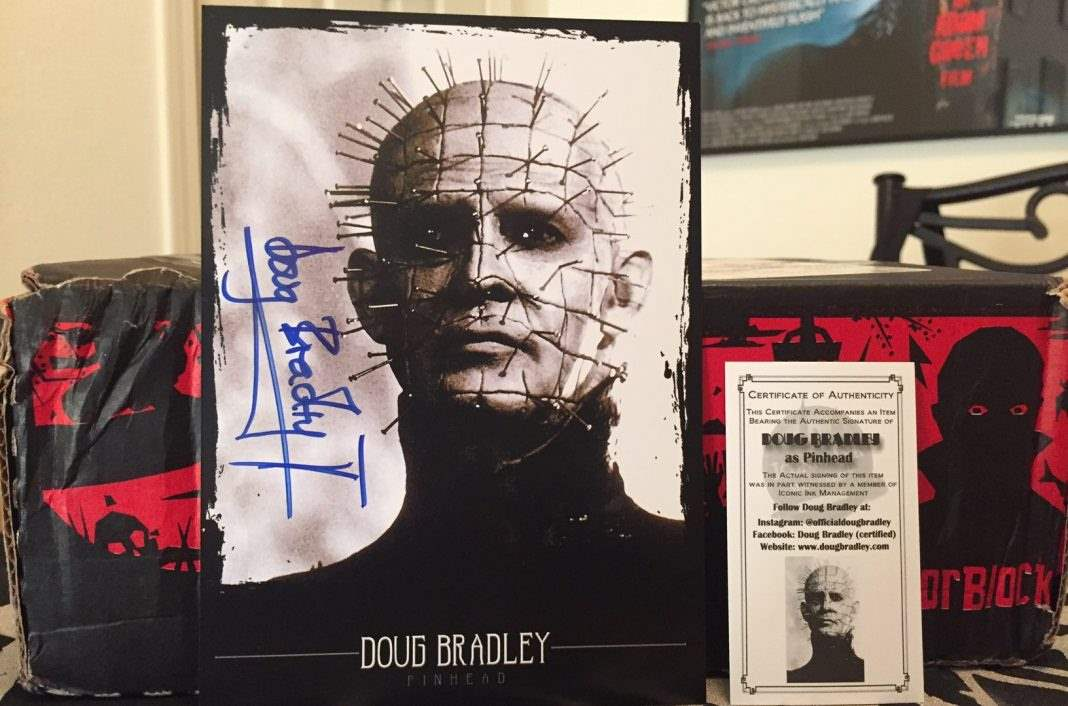 An autographed picture of Doug Bradley in the October 2016 Horror Block