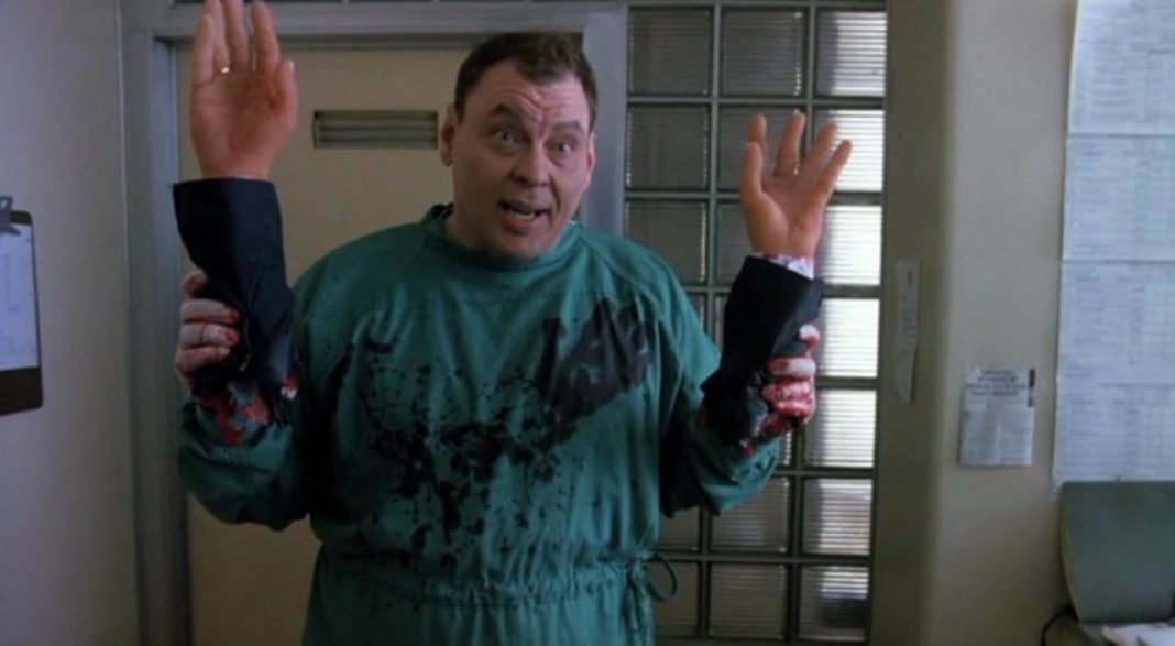 You have to give Larry Drake a hand...or two for his performance as Dr. Giggles.
