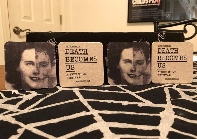 Death Becomes Us Black Dahlia coasters in February 2019 Creepy Crate