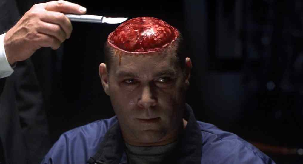 The scene in where Dr Hannibal Lecter cuts into Krendlers brain, retrieving a portion of the prefrontal lobe and cooking it in white with shallots before feeding it to Krendler.