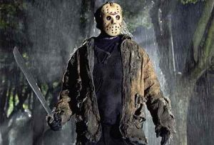 Jason voorhees and his trusty machete ready to cause young teenagers havoc that nightmares are made of.