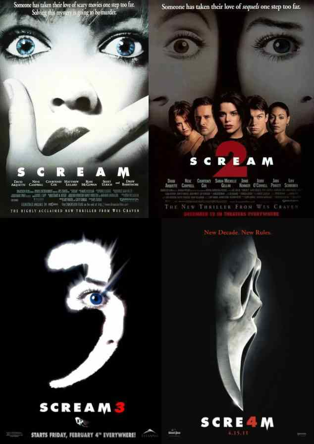 All the movies from the scream franchise by Wes craven in where a ghostface killer terrorizes a town.