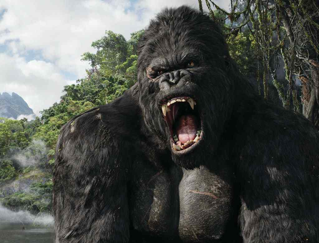 The movie poster for the recent King Kong movie starring Naomi watts and jack black directed by Peter Jackson.