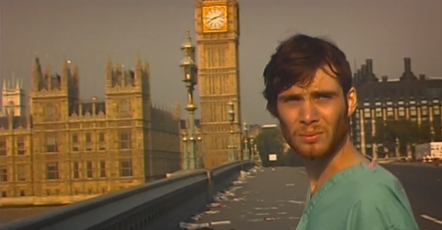 Jim (Cillian Murphy) looking out over the deserted city in the Danny Boyle zombie film 28 Days Later.