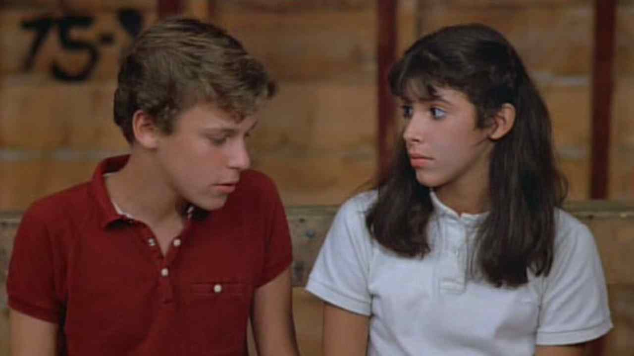 Angela (Felissa Rose) and Paul (Christopher Collet) sharing a moment in Robert Hiltzik's slasher Sleepaway Camp.