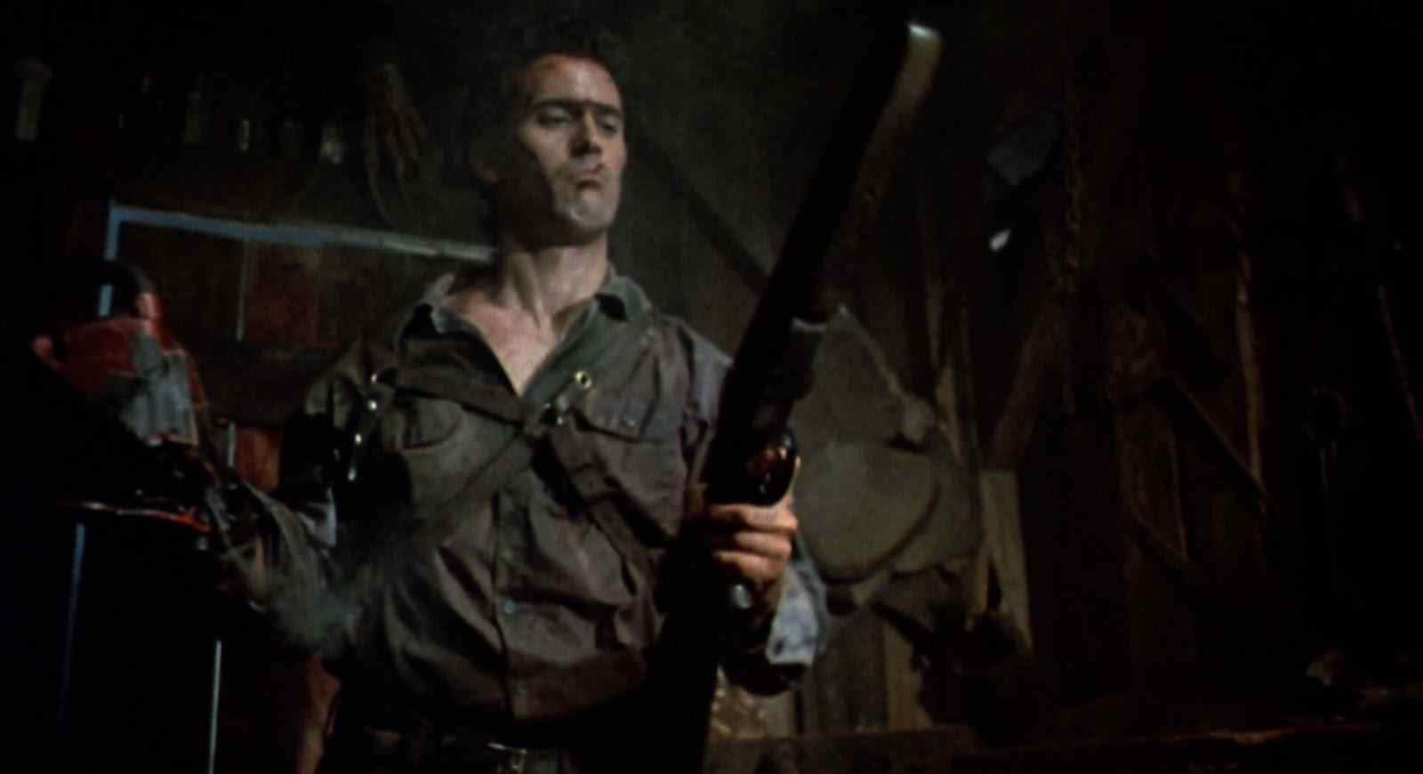Ash (Bruce Campbell) with a shotgun in Sam Raimi's 1987 cult horror-comedy follow up Evil Dead II: Dead by Dawn.
