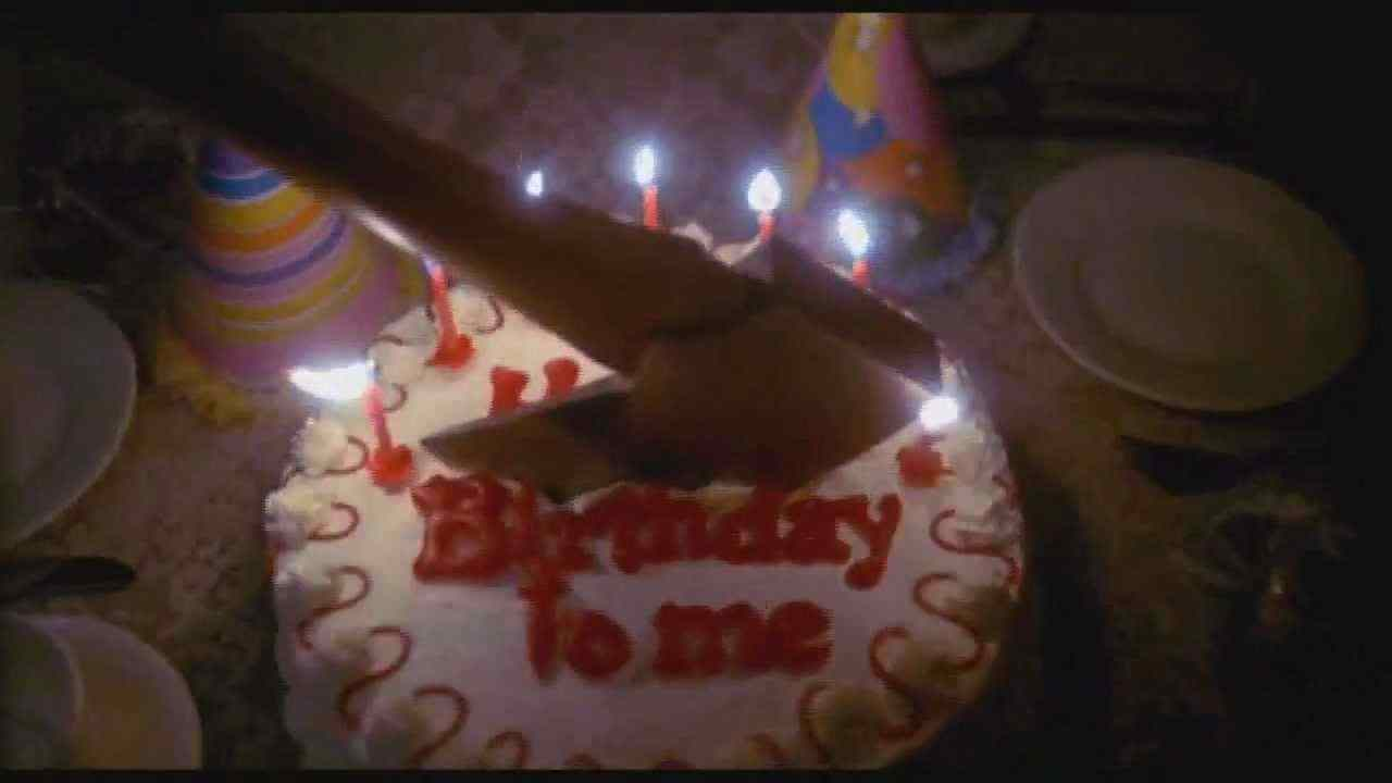 A scene from the trailer for J. Lee Thompson's 1981 giallo-slasher Happy Birthday to Me.