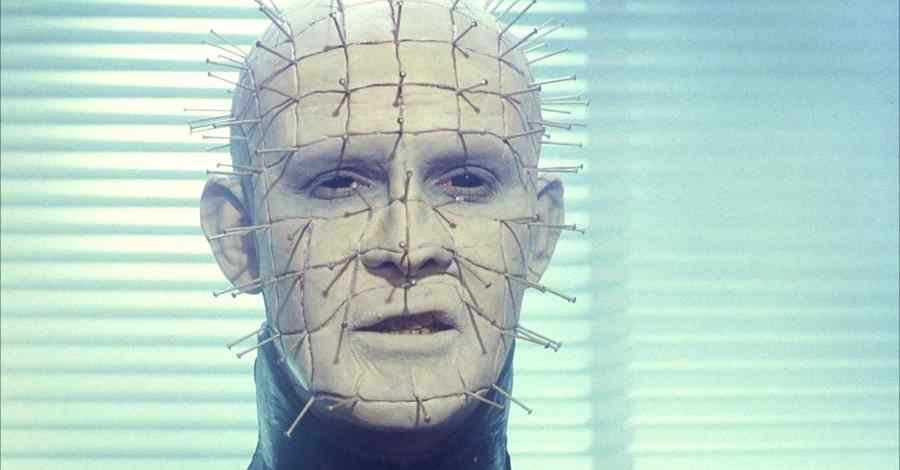 Doug Bradley as Pinhead, the lead cenobite, in Clive Barker's 1987 Horror film Hellraiser.