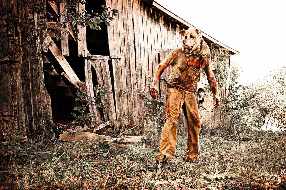 The pig-mask killer in the Eric England horror film Madison County.