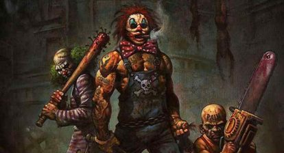 Teaser art featuring concept designs for the clowns in rob zombie's 31.
