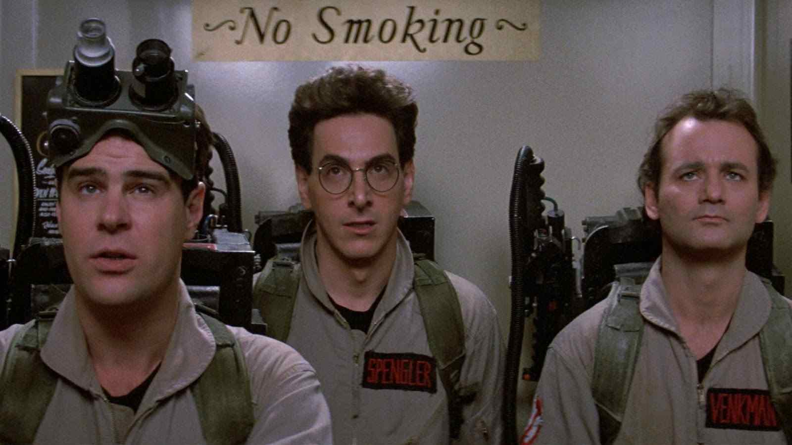 Raymond (Dan Aykroyd), Peter (Bill Murray), and Egon (Harold Ramis) in Ivan Reitman's Ghostbusters.