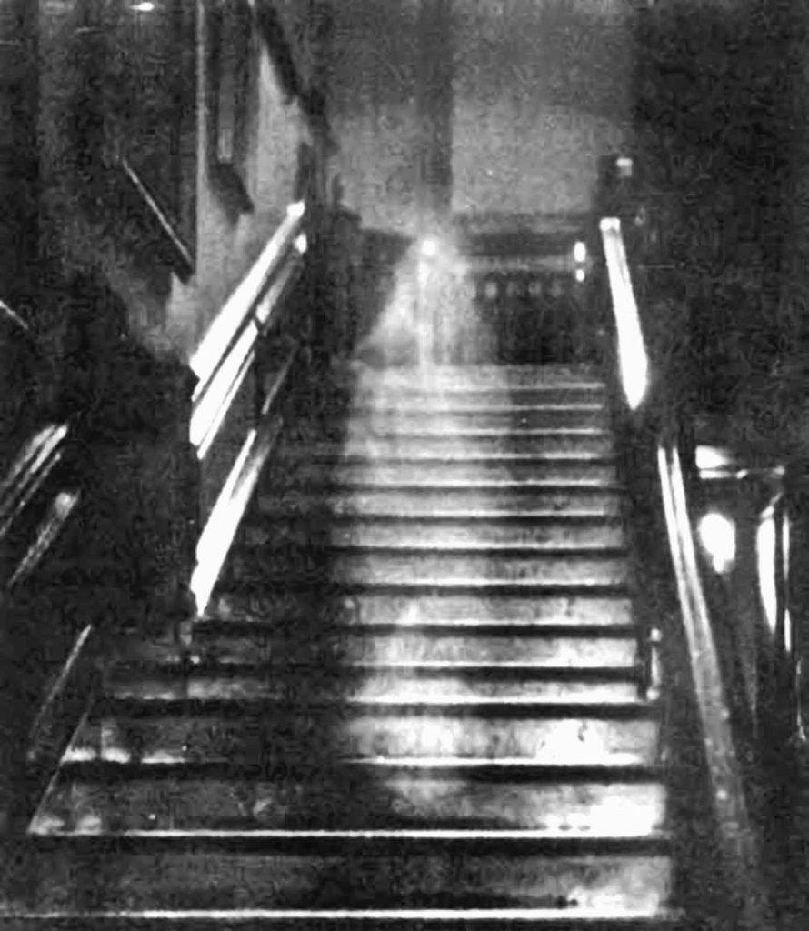 The photograph of a ghostly female figure on a staircase at Raynham Hall in Norfolk is thought to be of the so-called Brown Lady