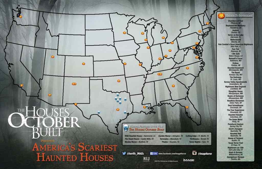 Map of haunted attractions for The Houses October Built.