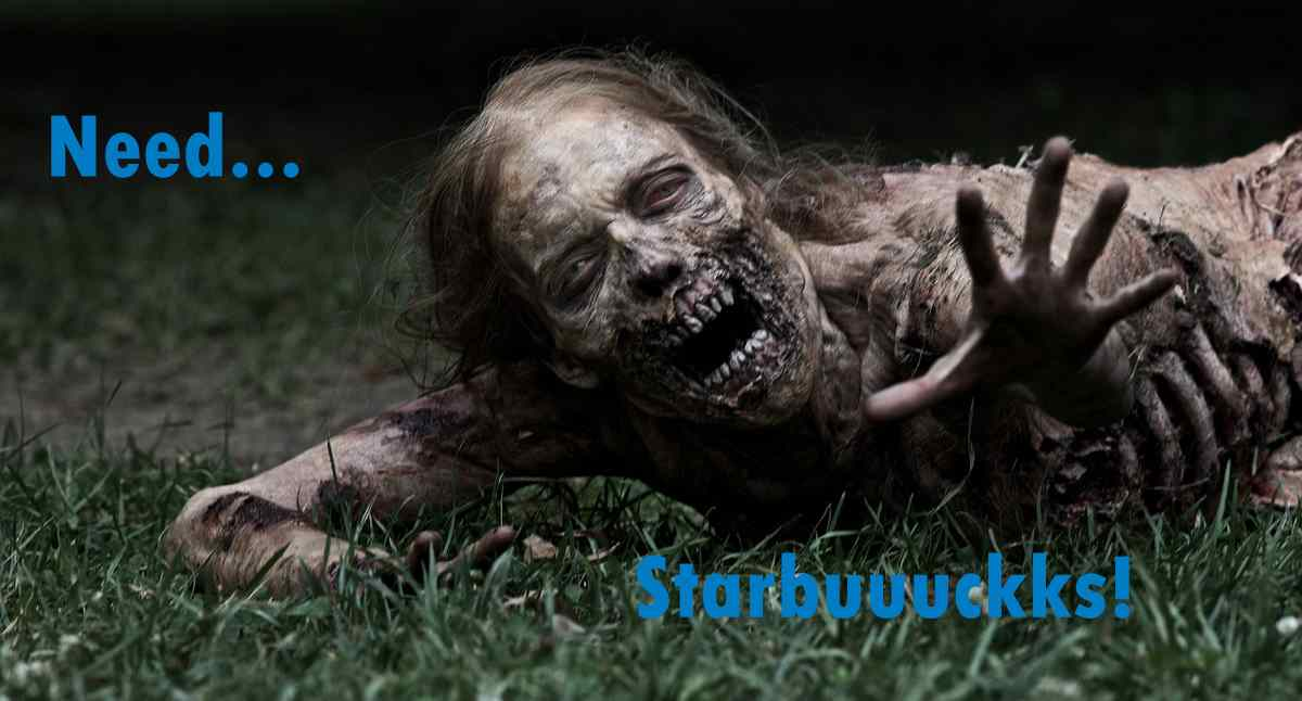Walking Dead zombie needs a starbucks.