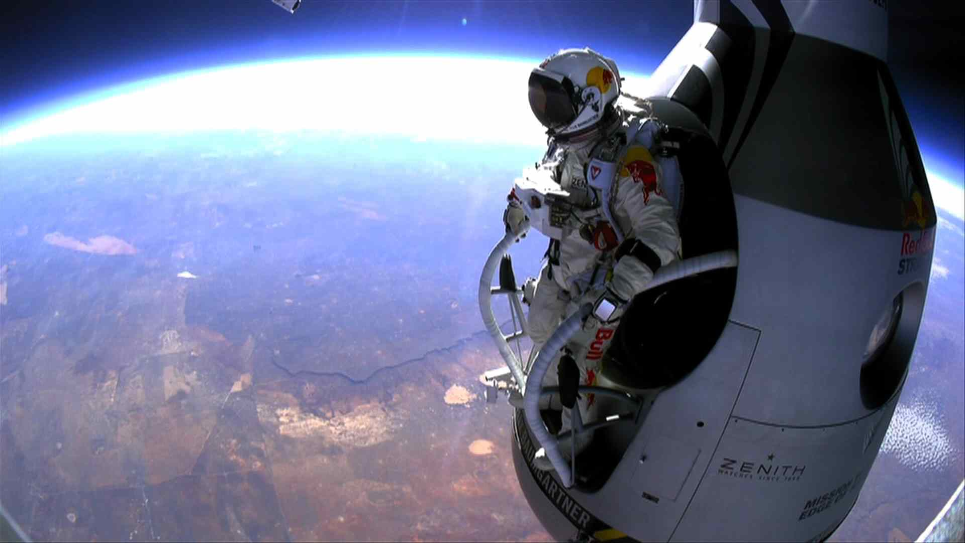felix baumgartner breaks the sound barrier with his world record space jump.