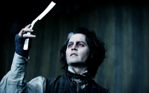 Johnny Depp as Sweeney Todd, the Demon Barber of Fleet Street.