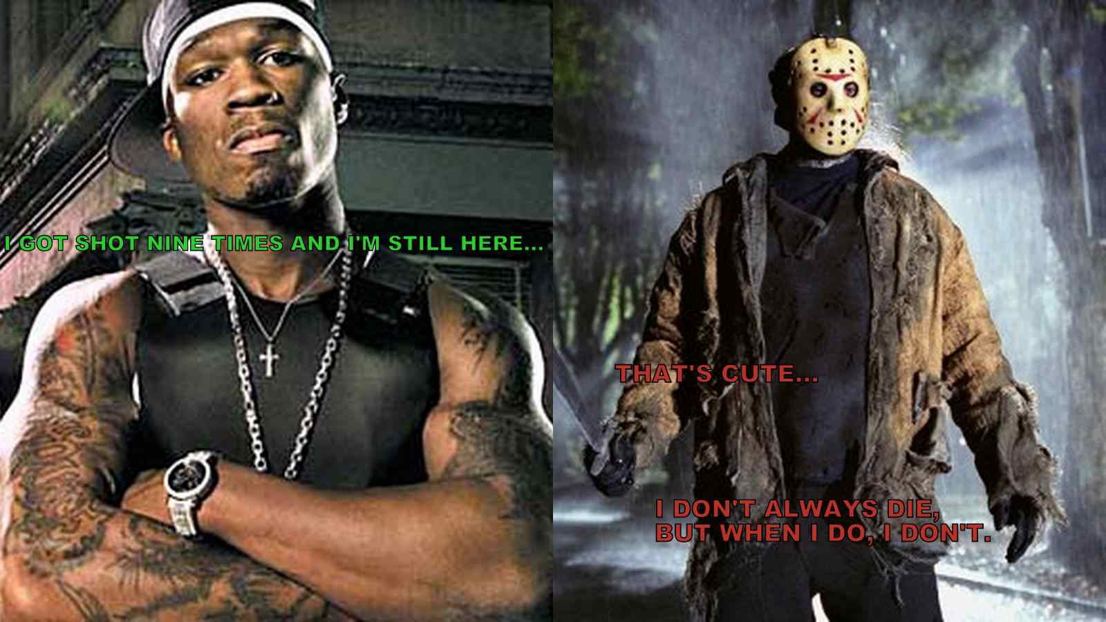 Hip hop star Fifty Cent and infamous horror character Jason Voorhees from the movie Friday the 13th.