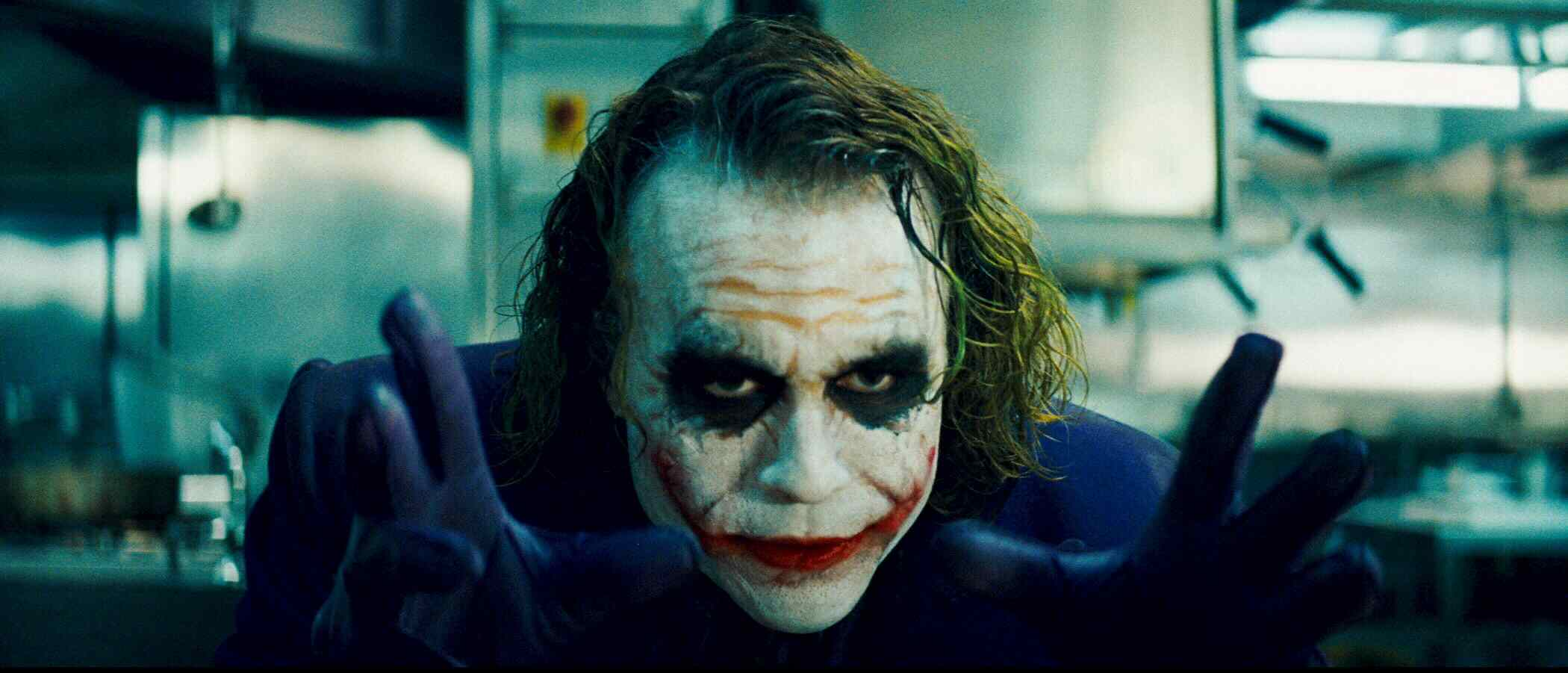 heath ledger as the amazing joker character in batman the dark knight.