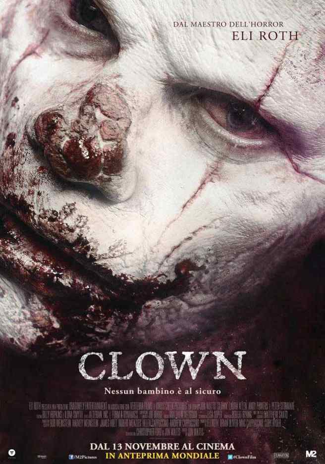 The movie poster for the eli roth produced Clown movie directed by Jon Watts.