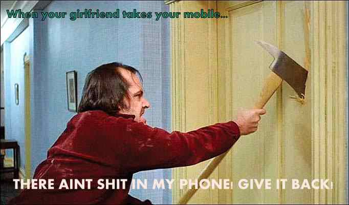Jack Nicholson and the infamous axe scene from the hit movie The Shining directed by Stanley Kubrick and written by Stephen King and Debra Hill.