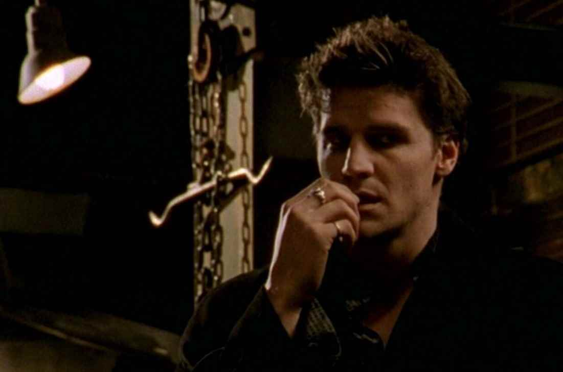 Angel loses his soul and becomes Angelus for the rest of season two of Buffy the Vampire Slayer.