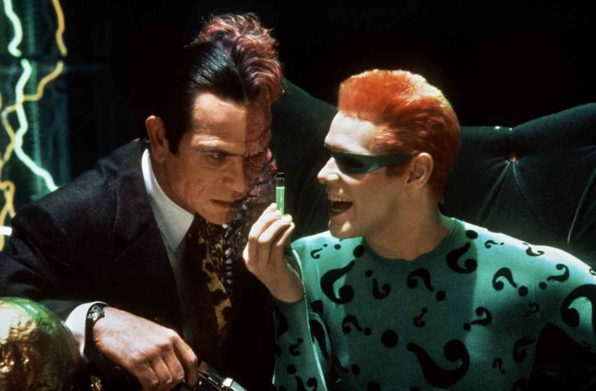 Two-Face and the Riddler hamming it up in Batman Forever.