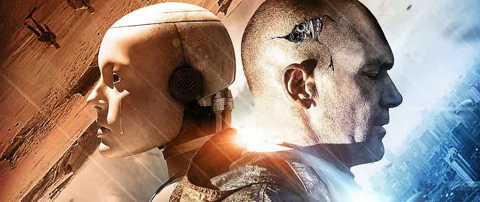 Antonio Banderas and a robot in the sci-fi flick Automata