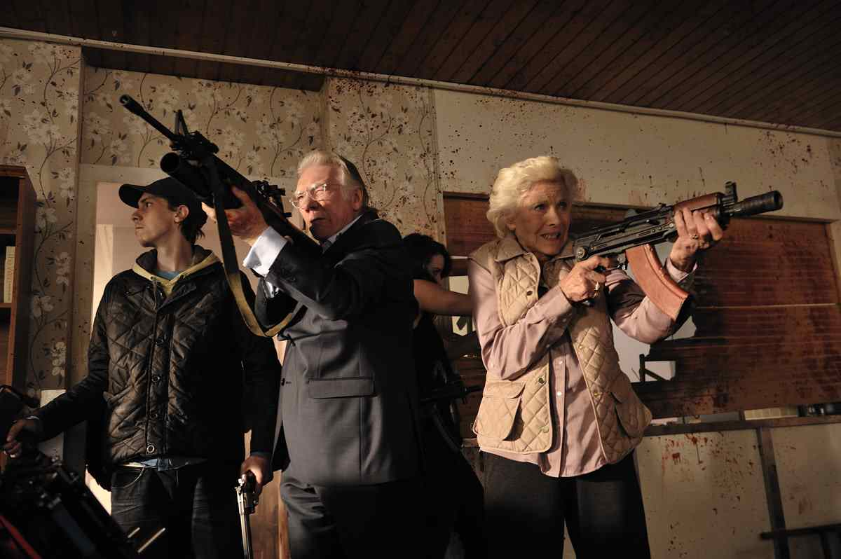 Senior citizens load up to fight the undead in Cockneys vs. Zombies.
