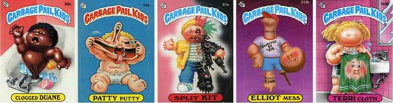 Origin appearances of the core group of Garbage Pail Kids.