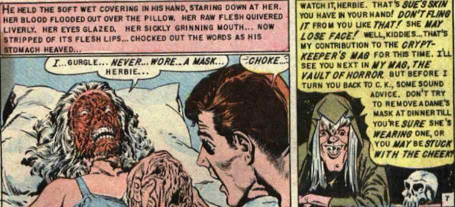 "The face beneath the ""mask"" in Tales from the Crypt #38, Skin Deep"