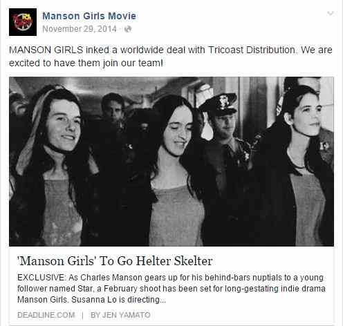 Screenshot of the Manson Girls movie Facebook page linking to the Deadline.com article.