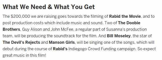 Detail of the Indiegogo crowdfunding campaign for Susanna Lo's film Rabid.
