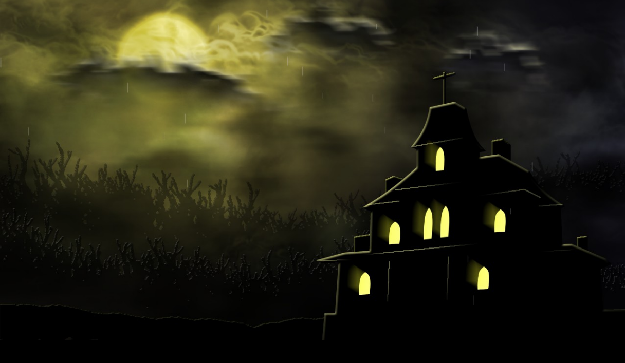 "The Title Screen of ""Spooky's House of Jump Scares."""