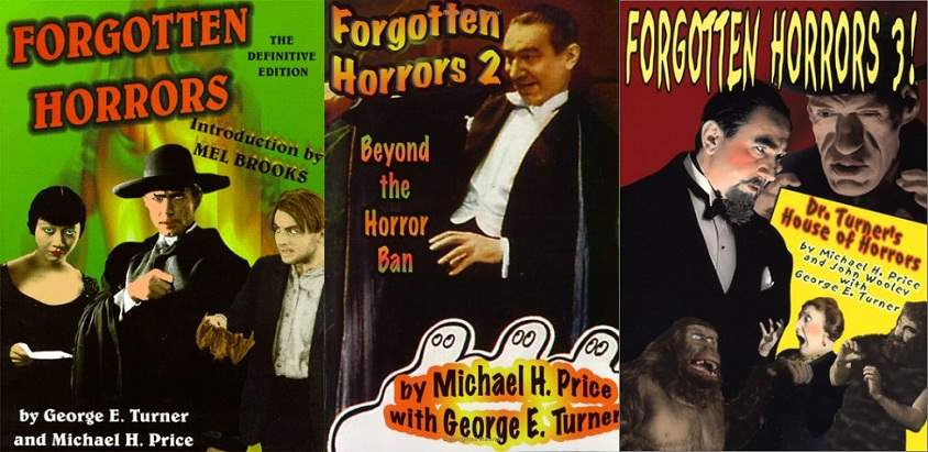 Cover images to the Forgotten Horror series by George E. Turner, Michael Price, and John Wooley