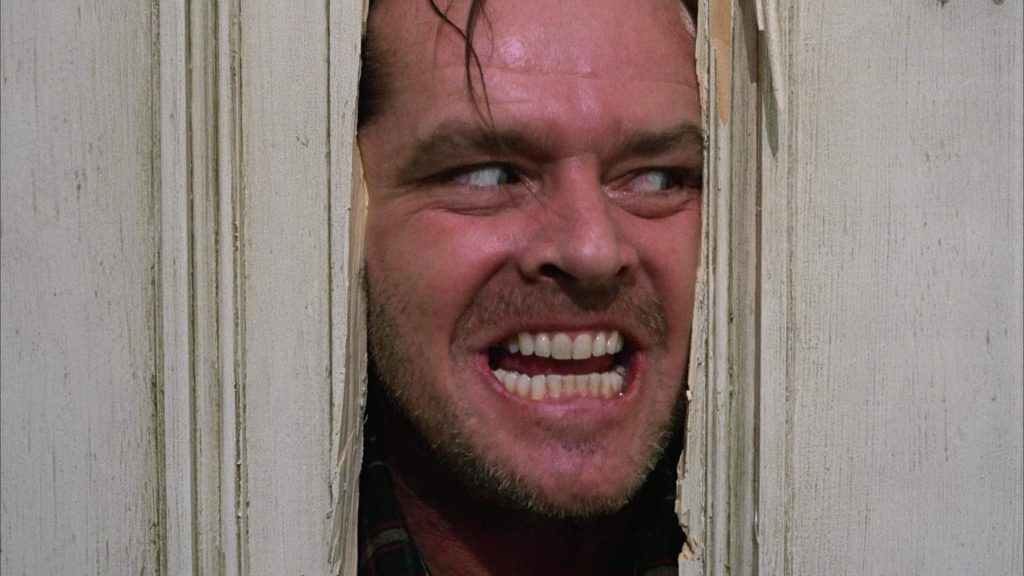"""the famous """"here's johnny"""" line from Stephen Kings movie adaptation of """"the shining""""."""