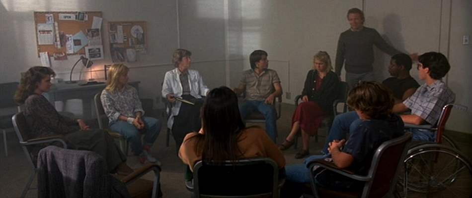 Group therapy session of the Dream Warriors as seen in Nightmare on Elm Street 3: Dream Warriors