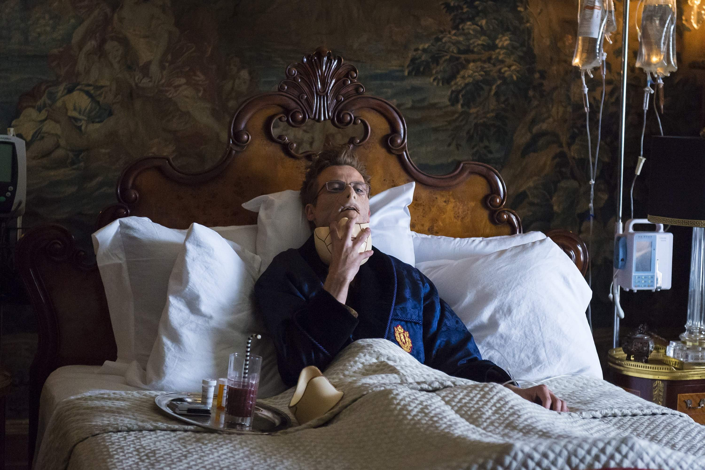 Mason Verger recuperates in bed after his vicious encounter with Hannibal Lecter
