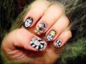 bettle juice michael keaton nail art.