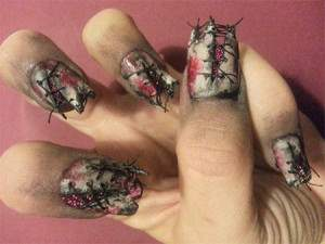 broken and dirty corset nail art.
