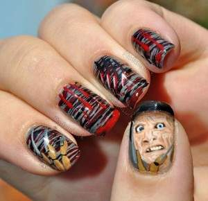 freddy krueger nightmare on elm street nail art.