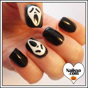 ghost face nail art