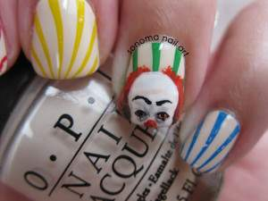 pennywise it the clown nail art
