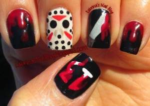 jason voorhees friday the 13th nail art.
