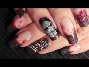 saw movie nail art.