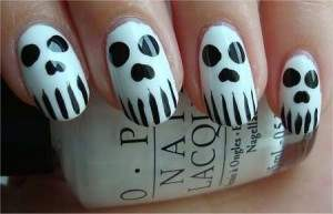 skeleton face nail art