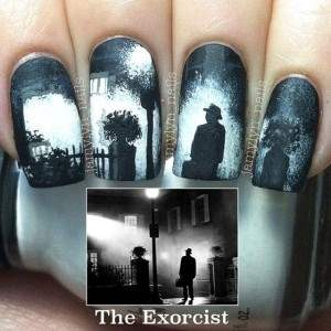 the classic horror the exorcist nail art.