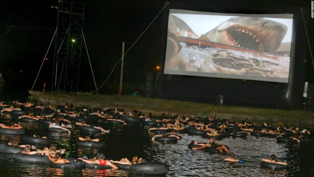 The Alamo Drafthouse Rolling Roadshow Jaws on the water showing.
