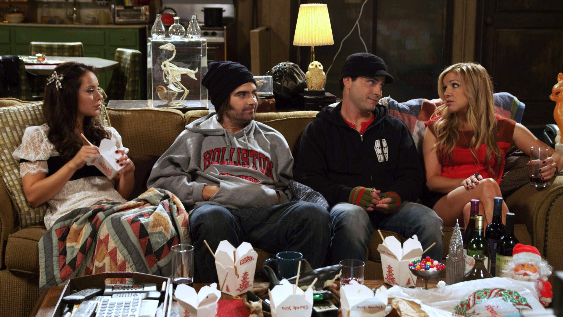 The cast of Holliston during season two's Christmas special