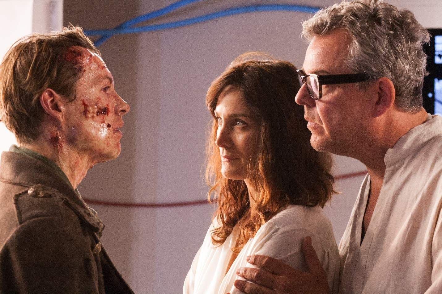 Xavier Samuel, Carrie-Anne Moss and Danny Huston in Frankenstein